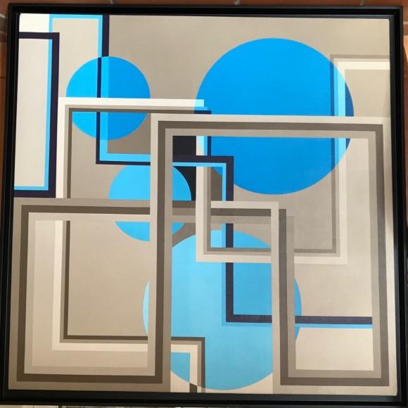 abstraction aux cercles bleux