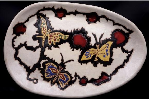 Grand plat aux Papillons